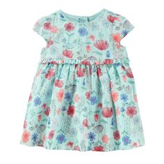 Baby Girl OshKosh B'gosh® Empire Waist Floral Dress, Size: 0-3 Months, Ice Mint Floral
