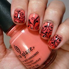 Gradient using China Glaze Snap My Dragon and China Glaze Sugar High.  Stamped with BM314.  Layer with China Glaze Fairy Dust over the top.