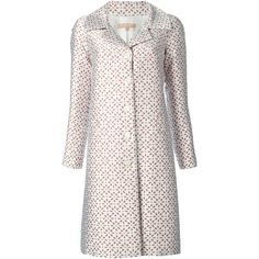 Michael Kors floral jacquard coat (101.945 RUB) ❤ liked on Polyvore featuring outerwear, coats, michael kors, white, white coat, jacquard coat, print coat and floral coat