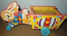 Mint Vintage Fisher Price 1954 Easter Bunny Cart Pull Toy