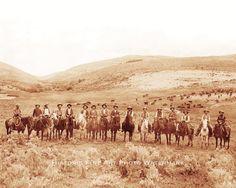 OLD WEST COWBOYS CATTLE DRIVE VINTAGE PHOTO MONTANA 1880 8x10  #21625