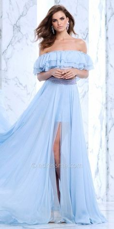 Alarm the crowd when you arrive in this chic Ruffled Two Piece High Slit  Chiffon Prom Dress by Tarik Ediz Prom. This drop dead gorgeous style  includes a ... 52b5cce5891d