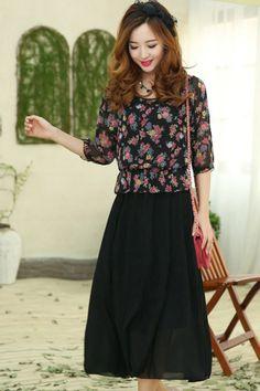 Street-chic Floral Chiffon Dress