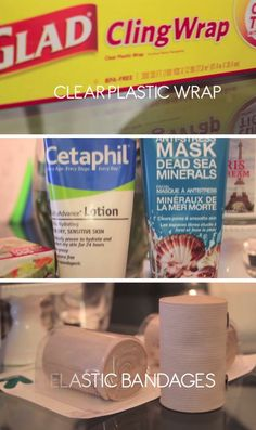 Detox Body Wrap plastic wrap lotion clay mask 2-3 ace bandages belly band bowl of warm water paper towels