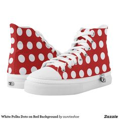 White Polka Dots on Red Background Printed Shoes