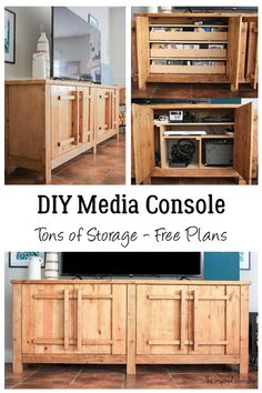 DIY TV Stand - Media ConsoleThis DIY Media Cabinet is not only beautiful, it's even more functional! With drawers to store video games and DVDs and shelves to accommodate all gaming consoles, gaming accessories and more! Tons of storage to keep all your tv watching and gaming equipment organized! Don't need all that storage for gaming and TV, build it to hold dishes and serving ware and use it as a DIY buffet! Use it as a show stopper in your entryway! Options are endless with DIY furniture!