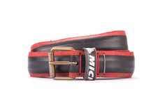 #2948 - Red and black belt from a spare race bicycle tyre, entirely handcrafted, iron branded and numbered. Strap folded up and stitched up with cotton colored strings.
