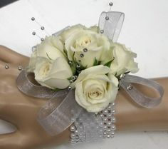 White spray rose Prom or Homecomming Corsage