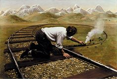 Performing as the 'everyman' in his photographs, (Teun) Hocks invents scenes that are confrontations with failure, puzzlement and wonder. The staged scenes show the man being thwarted, trapped, and frustrated with seemingly no solution.