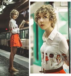 Petit Bateau Orange Skirt, Oxford Shoes, Cat Shirt