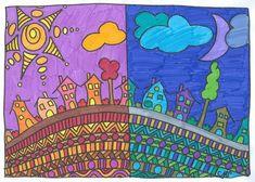 Line, shape, color, pattern, balance Classroom Art Projects, School Art Projects, Art Classroom, Programme D'art, Classe D'art, Warm And Cool Colors, 4th Grade Art, Ecole Art, Art Curriculum