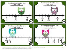 Fractions: You will receive 30 fraction task cards focusing on the Common Core skill of fractions on a number line. These cards have an adorable owl theme! The first 15 task cards are easier with more data given to the students. The last 15 cards of more difficult with less data to solve the missing fraction. You will also receive a fractions student response form and fractions answer key. These fractions math task cards work well in a math center to reinforce Grade 3 fraction skills.