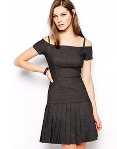 Gray Off Shoulder Antipodium Alsensation Pleated Dress in Stretch Denim @ ASOS $280 CUTE