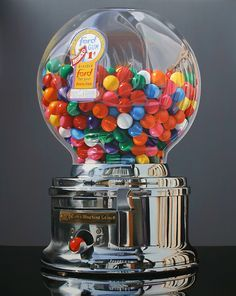 """Realistic Painting: """"Worth a Pretty Penny"""" by Daryl Gortner, via Skidmore Contemporary Art; oil on canvas; Hyperrealistic Art, Bubble Gum Machine, Hyper Realistic Paintings, Candy Art, Eye Candy, Gumball Machine, Southwest Art, Painting Gallery, Realism Art"""