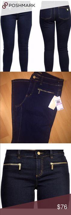 Michael Kors jeans Michael Kors Overdyed Indigo skinny jeans. Flattering dark wash with front gold zipper pockets. Signature circle MK on back pocket. Brand new with tags! Michael Kors Jeans Skinny