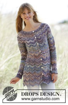 """Non-lacy zigzag for multicolour cardigan/jacket. sunset/Sundown Cardigan - Knitted DROPS jacket with zig-zag and round yoke in """"Fabel"""". - Free pattern by DROPS Design Sweater Knitting Patterns, Cardigan Pattern, Knit Patterns, Free Knitting, Knit Cardigan, Gilet Crochet, Knit Crochet, Drops Design, How To Purl Knit"""