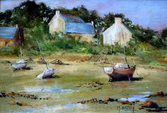 Oeuvre >> Breton Michel >> petit coin de Bretagne1 Les Oeuvres, Pastels, Nautical, Painting, Artists, Drawings, Image, Watercolor Painting, Painters