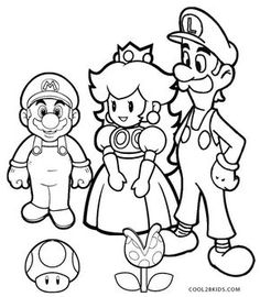 Super Mario Brothers kids color by number coloring page