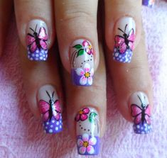 Ladies' nails have always been an important dimension of beauty and fashion. You can also have so many choice for your nail designs. Star nail art, Hello Kitty nail art, zebra nail art, feather nail designs are a few examples among the various themes. Pretty Nail Designs, Simple Nail Art Designs, Nail Designs Spring, Easy Nail Art, Fancy Nails, Cute Nails, Butterfly Nail Art, Nail Photos, Pedicure Nails