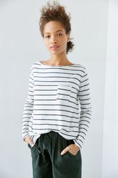 Truly Madly Deeply Ronnie Striped Long-Sleeve Tee - Urban Outfitters