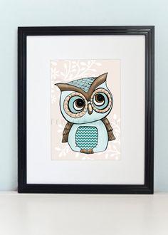 Owl Art Print 8x10  Quirky Little Blue Owl by PebblesPrints, $15.00