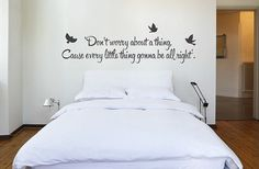 """Bob Marley 'Don't Worry""""' Quote Wall Sticker - Bob Marley Music Lyric Wall Decal - Every litlle thing is gonna be Alright"""