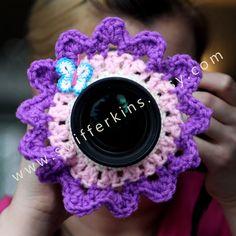 Camera lens buddy. Crochet lens critter flower by Swifferkins, $12.99