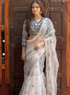 Looking for stylish designer sarees? Check out this vast collection of the latest designer saree trends. From Abu Jani to Anita Dongre and Manish Malhotra to Sabyasachi, this page has all kinds of designer saree images for weddings & parties. Indian Attire, Indian Outfits, Indian Wear, Saris, Indische Sarees, Saree Gown, Lehanga Saree, Sabyasachi Sarees, Anarkali Lehenga