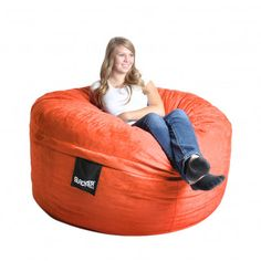 Bean Bag Chair Size: Large, Color: Pumpkin Orange - http://delanico.com/bean-bag-chairs/bean-bag-chair-size-large-color-pumpkin-orange-525977417/