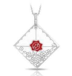 Love Letter White Pendant by Belle Étoile. Enamel Jewelry. Fashion Jewelry. Love.