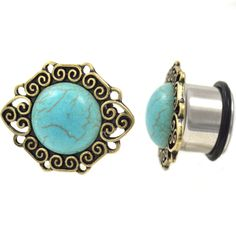Pair of Synthetic Turquoise Stone Double Flared Domed Plugs 7//16