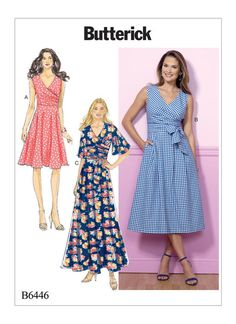 B6446 | Misses' Pleated Wrap Dresses with Sash Sewing Pattern | Butterick Patterns