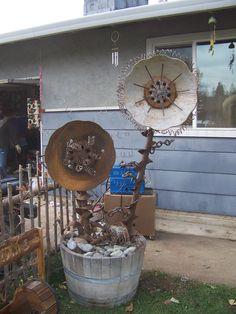 Yard art. Metal flowers