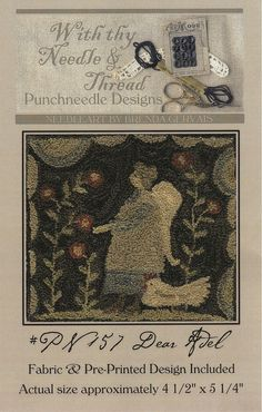With Thy Needle & Thread Punch Needle Embroidery Pattern, #PN157 Dear Adel