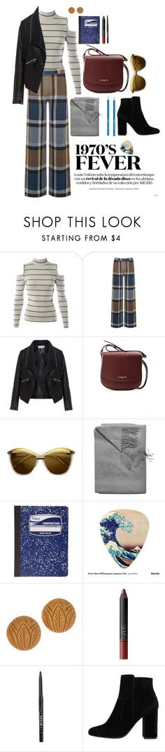"""Seventies Obsession"" by claralodesky ❤ liked on Polyvore featuring Sans Souci, Warehouse, Zizzi, Lancaster, ZeroUV, Sofia Cashmere, Mead, Stila and MANGO"