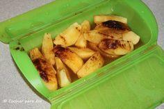 Microondas Lekue: Manzana asada - 3' [2 manzanas, 3 cuchditas azúcar moreno, 3 cuchda. agua, sin canela]. Postre