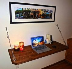 **Wall Mounted, Folding, Hanging Desk** Size Options: - 32 - 48 - 64 All desks are 20 inches in depth. Custom sizes are available. Please