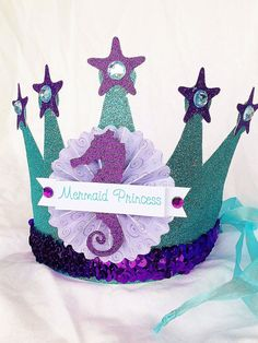 Sparkly Mermaid Princess Crown Party Hat