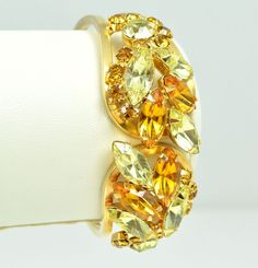 Vintage Clamper Bracelet JULIANA 1960s Amber & Yellow Goldtone Bridal Jewellery #DelizzaandElsterJuliana