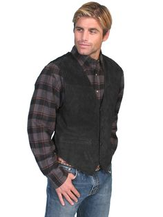 Men/'s New Western Beautiful Lambskin Black Soft TouchSnap Front Vest Scully
