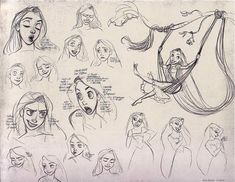 Tangled concept art. I love the one where she's swinging on her hair:)