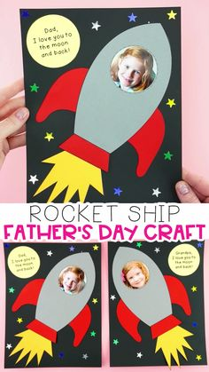 Fathers Day Crafts Discover Easy Rocket Ship Fathers Day Craft Dad and Grandpa will love getting this easy Fathers Day craft idea this year for a Fathers Day gift. Simple craft for preschoolers and kids of all ages. Kids Fathers Day Crafts, Fathers Day Art, Gifts For Kids, Toddler Fathers Day Gifts, Diy Father's Day Gifts For Grandpa, Father Birthday Gifts, Fathers Day Photo, Great Gifts, Diy Father's Day Crafts