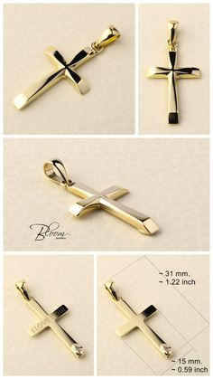 Personalized Cross Pendant Yellow Gold Cross Pendant for Men Personalized Gold Cross Necklace for Men Mens Cross Necklace Solid Gold Cross