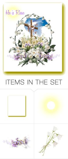 """He is Risen"" by mroz-naps ❤ liked on Polyvore featuring art, Easter, springtime, BLESSINGS and etsyfru"