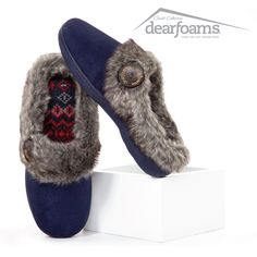 Cute as a button! Dearfoams Chalet Collection: Microfiber Suede Clogs #slippers #comfortandjoy