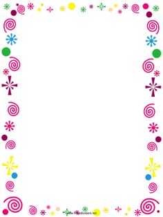 This free, printable border is decorated with pink curlicues and colorful confetti. It's great for party invitations. Free to download and print.