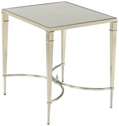 With its brushed nickel metal base and glass top, the Hammary Mallory Rectangular End Table is contemporary furniture at its finest. Mirrored End Table, Living Room End Tables, Table Height, End Tables With Storage, Furniture Companies, Contemporary Furniture, Contemporary Style, Modern, A Table
