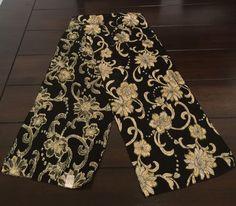 "Vintage I Shalom & Co Black Gold Metallic Floral Sheer Scarf Made Japan 10""x 57"" #IShalomCo #Scarf"