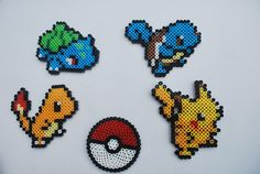 Pokemon Perler Bead Magnets- Set of 5. $10.00, via Etsy.