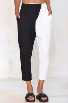 Nasty Gal Split Personality Trouser - Black White Білі Брюки 8779bcd0a99d5